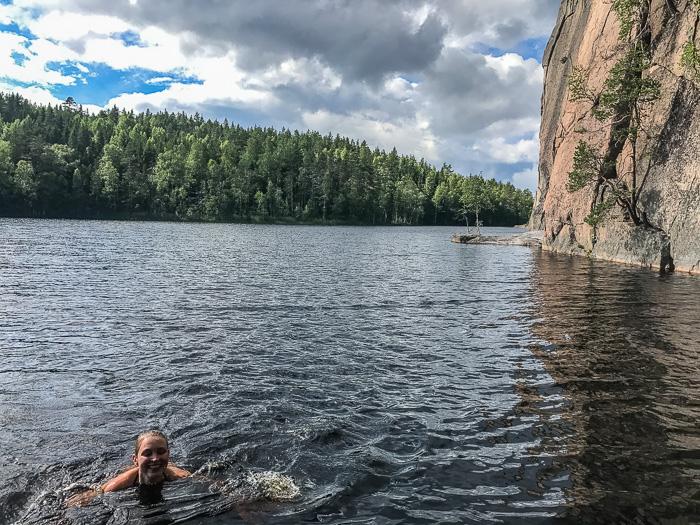 Swimming in Repovesi National Park Finland