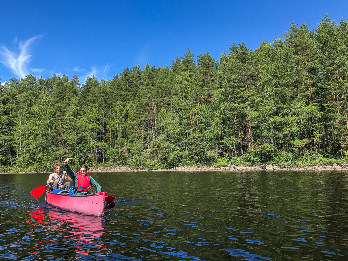 Canoeing in Repovesi National Park Finland