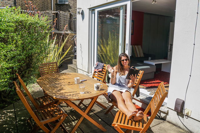Relaxing in our Balham garden