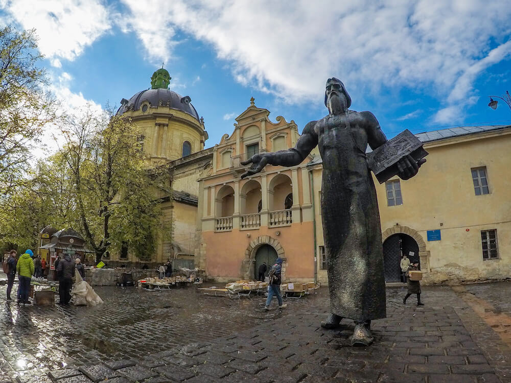 lviv old town book market statue