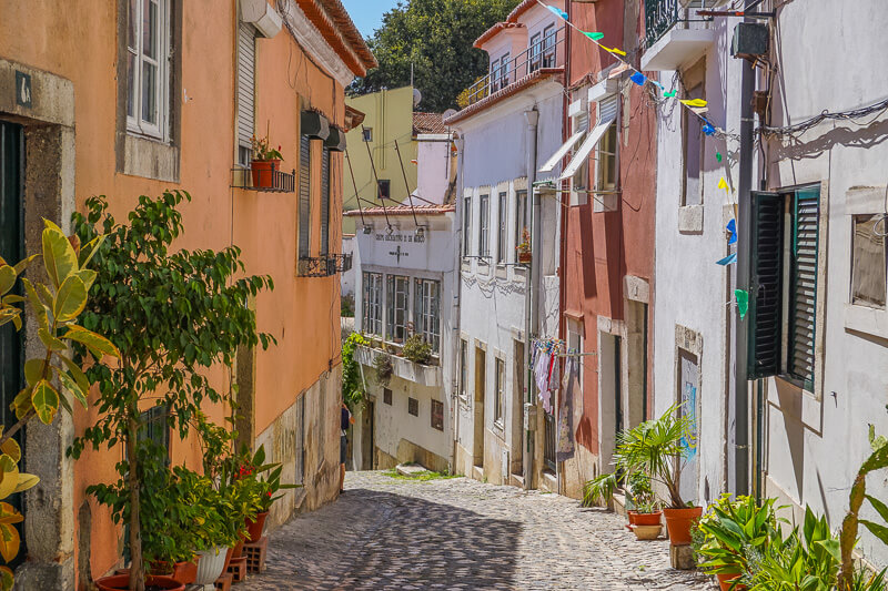 lisbon alfama lane portugal