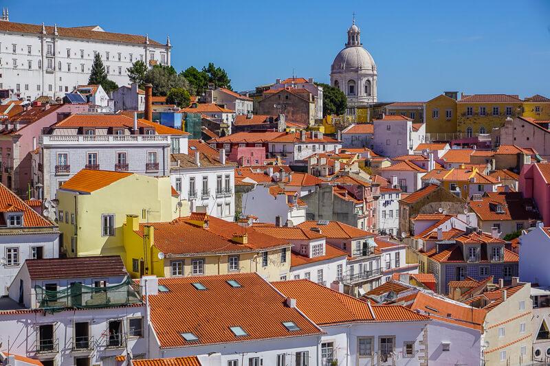 lisbon alfama rooftops portugal