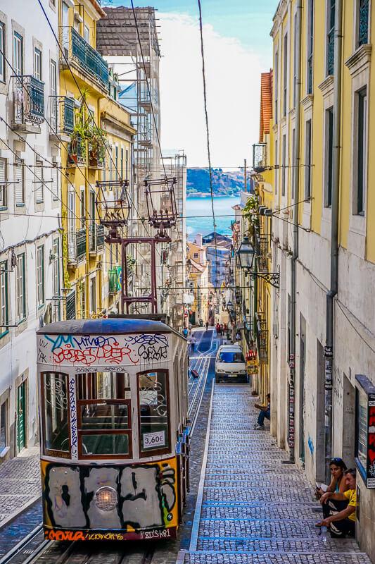 lisbon tram graffiti portugal