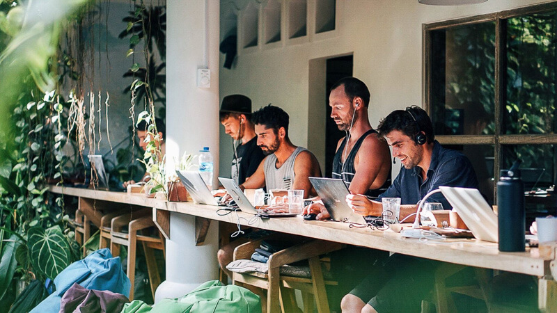 Digital Nomads working in a Bali co-working space