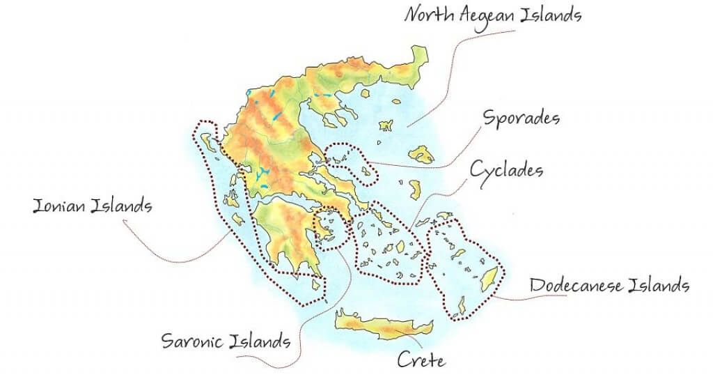 greek island hopping groups map